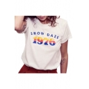 1976 Number Letter Printed Round Neck Short Sleeve Tee