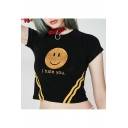 I HATE U Letter Smile Face Contrast Striped Printed Round Neck Short Sleeve Crop Tee