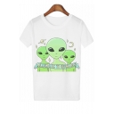 Alien Letter Moon Printed Round Neck Short Sleeve Tee