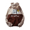 Cartoon Cat Letter Printed Long Sleeve Zip Up Hooded Coat