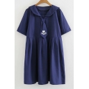 Paw Embroidered Navy Collar Short Sleeve Mini Smock Dress