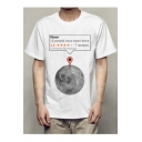 Moon Letter Printed Round Neck Short Sleeve Tee