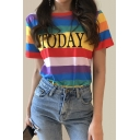 Color Block Striped TODAY Letter Printed Round Neck Short Sleeve Tee