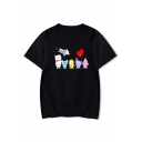 Lovely Cartoon Animal Heart Printed Round Neck Short Sleeve Tee