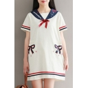 Navy Collar Short Sleeve Contrast Striped Bow Printed Mini A-Line Dress