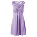 Floral Lace Insert Round Neck Sleeveless Mini A-Line Dress