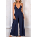 Spaghetti Straps Sleeveless Plunge Neck Plain Hollow Out Back Loose Jumpsuit
