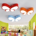 Acrylic Flushmount with Butterfly Blue/Orange/Red LED Flush Light Fixture for Kindergarten