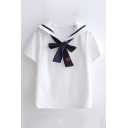 Contrast Striped Navy Collar Bow Tie Embellished Short Sleeve Tee