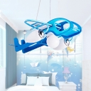 Home Deco Blue Airplane Chandelier Glass Shade 3 Bulbs Lighting Fixture for Boys Bedroom