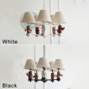 5 Bulbs Tapered Hanging Chandelier with Cat for Kids Fabric Shade Suspended Lamp in Black/White Finish