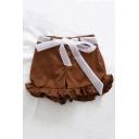 Bow Belt Embellished Buttons Down Plain Ruffle Hem Loose Shorts