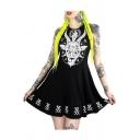 Punk Style Goat Printed Round Neck Sleeveless Mini A-Line Dress