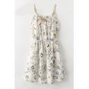 Braid Drawstring Front Spaghetti Straps Sleeveless Floral Printed Mini Cami Dress