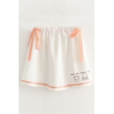 Bow Tied Embellished Elastic Waist Cartoon Girl Letter Printed Mini A-Line Skirt