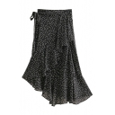 Polka Dot Printed Tied Waist Maxi Asymmetric Skirt
