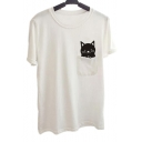 Cute Cat Printed Pocket Round Neck Short Sleeve Tee