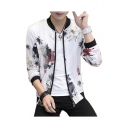 Floral Printed Mesh Insert Stand Up Collar Long Sleeve Zip Up Sun Proof Coat
