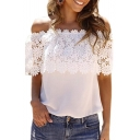 Floral Lace Insert Off The Shoulder Short Sleeve Blouse