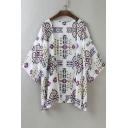 Geometric Printed Collarless 3/4 Length Sleeve Kimono