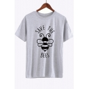 SAVE THE BEES Letter Bee Printed Round Neck Short Sleeve Tee