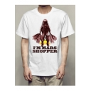 I'M MARS SHOPPER Letter Astronaut Printed Round Neck Short Sleeve Tee