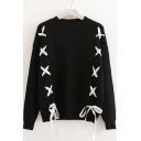 Lace Up Embellished Round Neck Long Sleeve Sweater