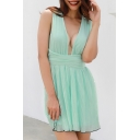 Sexy V Neck Sleeveless Hollow Out Back Mini A-Line Dress