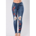 Floral Embroidered Cut Out Detail Jeans