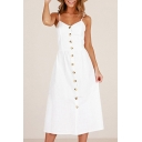 Plain Buttons Down Spaghetti Straps Sleeveless Maxi A-Line Dress