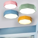 Acrylic Polygon LED Flushmount Macaron Nordic Children Living Room Flush Ceiling Light