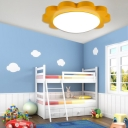 Kindergarten Sun Shape Flush Mount Contemporary Acrylic Decorative LED Ceiling Fixture in Yellow