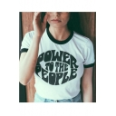 POWER TO THE PEOPLE Letter Contrast Round Neck Short Sleeve Tee