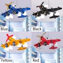 5 Lights Prop Plane Hanging Lamp Children Bedroom Metallic Suspended Lamp in Blue/Black/Yellow/Red