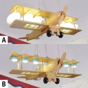 Creative Wooden Biplane Hanging Chandelier Nursing Room Children 6 Lights Suspended Light