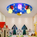 Decorative Plastic LED Flush Light with Ladybug Blue 6 Lights Flush Mount Light for Kindergarten