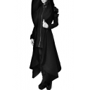 Cool Patchwork Long Sleeve Zip Up Tunic Asymmetric Hooded Coat