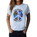 LOVE EACH OTHER Letter Earth Printed Round Neck Short Sleeve Tee