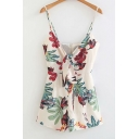 Tied Front Floral Printed Spaghetti Straps Sleeveless Loose Romper