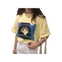 Leisure Cartoon Girl Printed Round Neck Short Sleeve Tee