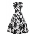 Elegant Floral Printed V Neck Sleeveless Midi A-Line Dress