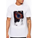 Astronaut Galaxy Printed Round Neck Short Sleeve Tee