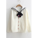 Heart Pattern Embroidered Bow Tied Embellished Navy Collar Long Sleeve Buttons Down Cardigan