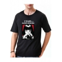 I SAID Letter Cartoon Girl Printed Round Neck Short Sleeve Tee