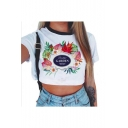 GARDEN Letter Floral Printed Contrast Round Neck Short Sleeve Crop Tee