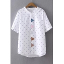 Colorful Triangle Applique Polka Dot Printed Stand Up Collar Short Sleeve Buttons Down Shirt