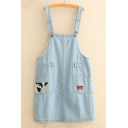 Cow Strawberry Japanese Embroidered Straps Sleeveless Mini Overall Denim Dress