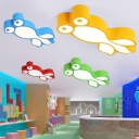 Lovely Fish Shape Ceiling Light Kids Bedroom Acrylic LED Flush Light Fixture in White/Third Gear