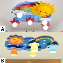 Kindergarten Sun Flush Light Metallic 4/5 Lights Decorative Ceiling Lamp in Multicolored