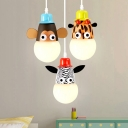 Zebra/Monkey/Giraffe Pendant Light Children Kids Bedroom Metal Single Head Suspended Light